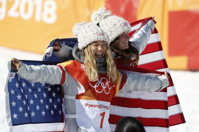Snowboarding - Pyeongchang 2018 Winter Olympics - Women's Halfpipe Finals - Phoenix Snow Park - Pyeongchang, South Korea - February 13, 2018 - Chloe Kim of the U.S., and compatriot Arielle Gold hold their national flags. REUTERS/Jorge Silva