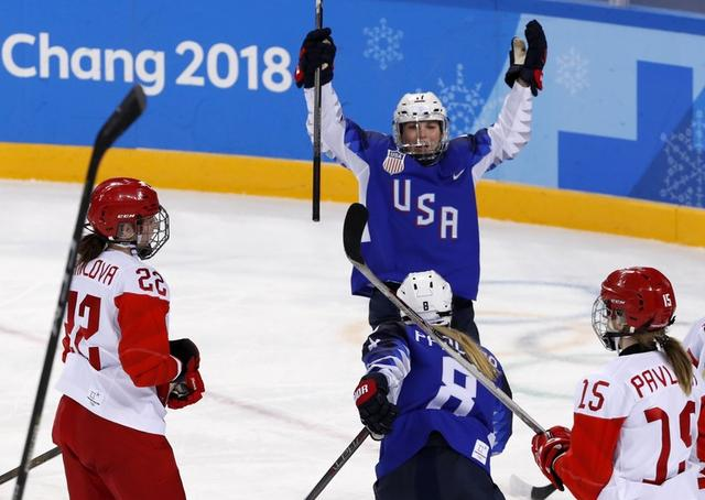 Ice Hockey – Pyeongchang 2018 Winter Olympics – Women Preliminary Round Match - U.S. v Olympic Athletes from Russia - Kwandong Hockey Centre, Gangneung, South Korea – February 13, 2018 - Jocelyne Lamoureux-Davidson of the U.S. celebrates goal. REUTERS/Grigory Dukor
