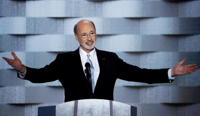 FILE PHOTO - Pennsylvania Governor Tom Wolf speaks on the final night of the Democratic National Convention in Philadelphia, Pennsylvania, U.S. July 28, 2016. REUTERS/Mike Segar/File Photo