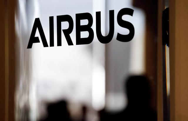 FILE PHOTO: An Airbus logo is pictured during delivery of the new Airbus A380 aircraft to Singapore Airlines at Airbus's headquarters in Colomiers near Toulouse, France, December 13, 2017. REUTERS/Regis Duvignau/File Photo