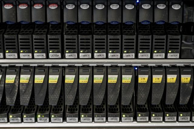 FILE PHOTO -  Hard disks are pictured inside a server room at a company in Bangkok, Thailand, April 5, 2016.  REUTERS/Athit Perawongmetha/File Photo