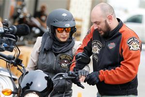 Saudi woman learns to ride motorcycle