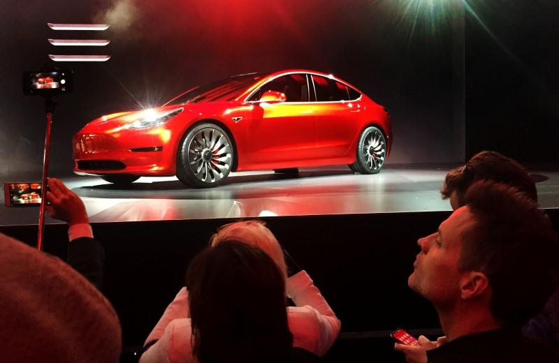 Tesla shares fall on worries about Model 3 production rate