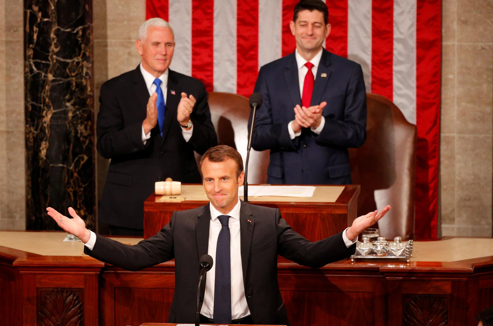 Friends or not, France's Macron challenges Trump in Congress