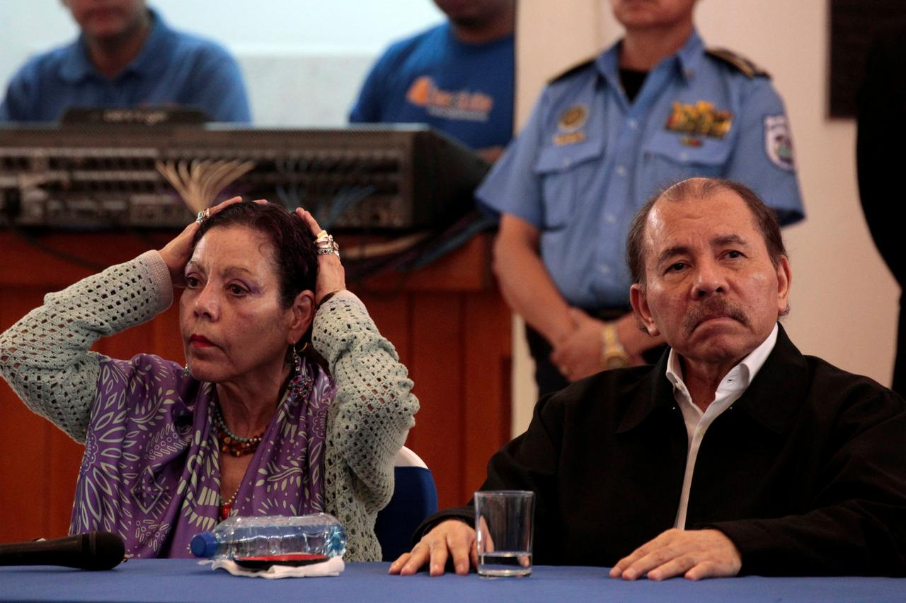 aeea7a8de4b Nicaragua s President Daniel Ortega with Vice-President Rosario Murillo  attend first round of dialogue after a series of violent protests against  his ...