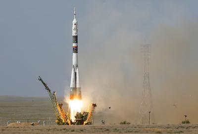 Soyuz blasts off