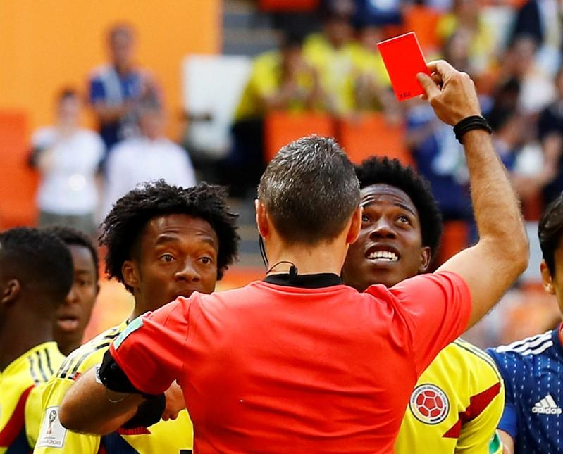 Colombia's Sanchez gets first red card of World Cup