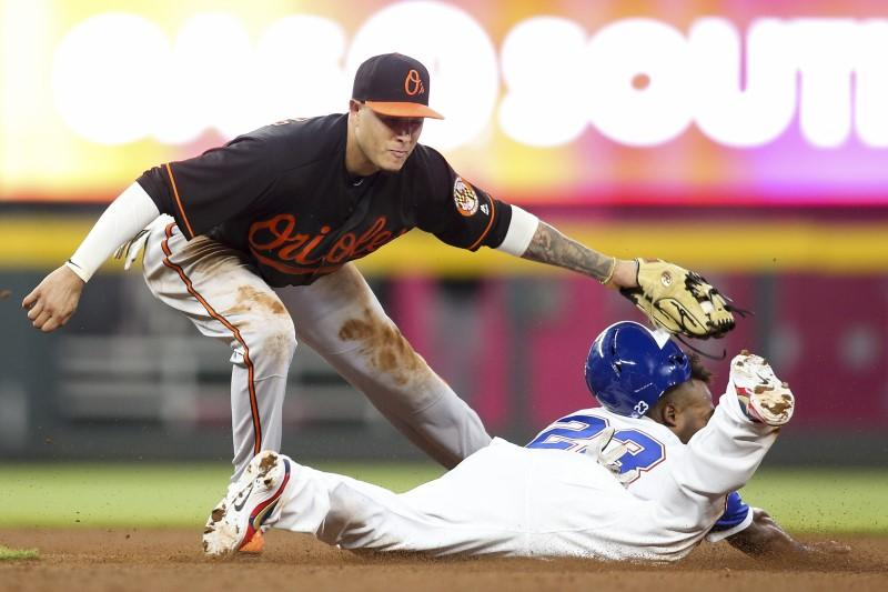 8af2e0bc ... GA, USA; Baltimore Orioles shortstop Manny Machado (13) tags out  Atlanta Braves left fielder Danny Santana (23) on a steal attempt in the  tenth inning ...