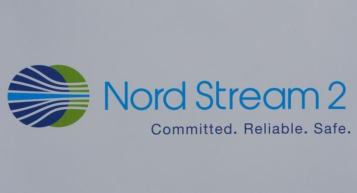 The logo of the Nord Stream-2 gas pipeline project is seen on a board at the St. Petersburg International Economic Forum 2017 (SPIEF 2017) in St. Petersburg, Russia, June 1, 2017.  Sergei Karpukhin