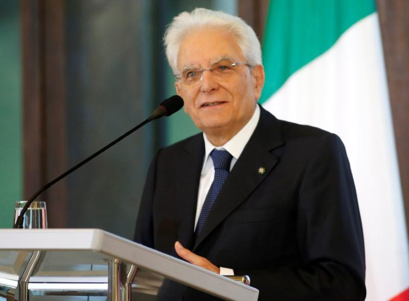 Italian President Sergio Mattarella attends a news conference in Tbilisi, Georgia, July 16, 2018. David Mdzinarishvili