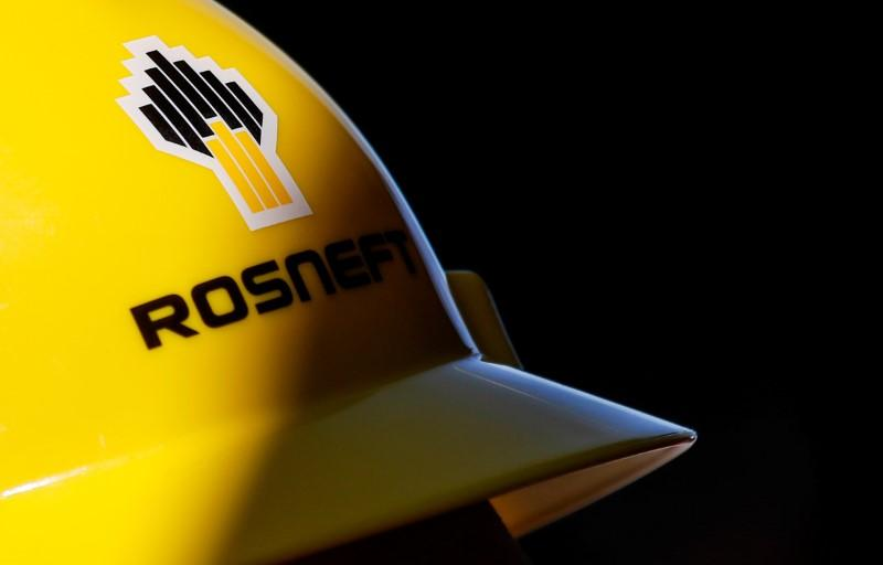 A view shows a helmet with the logo of Rosneft company in Vung Tau, Vietnam April 27, 2018. Maxim Shemetov