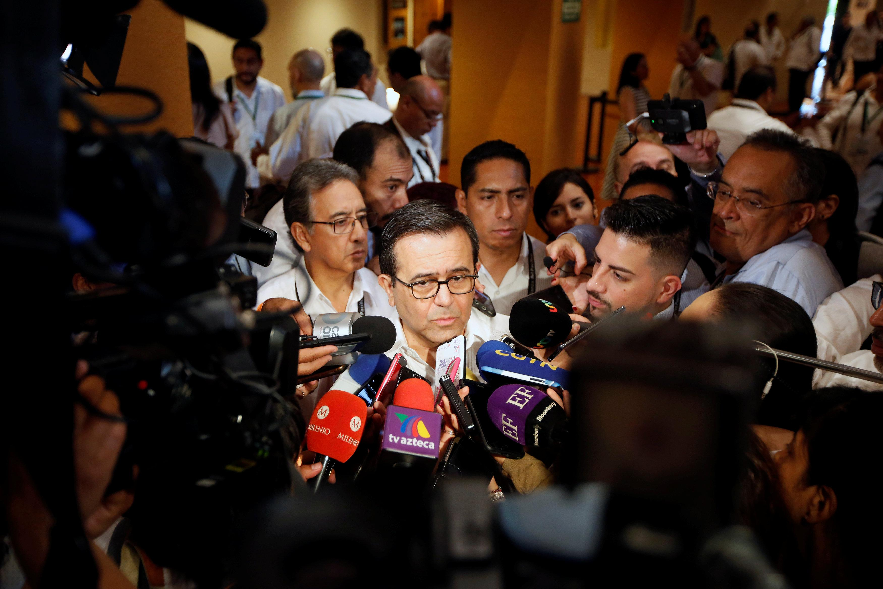 Mexico's Economy Minister Ildefonso Guajardo gestures to the media during the 5th Business Meeting of the Pacific Alliance in Puerto Vallarta, Jalisco, Mexico July 23, 2018. Carlos Jasso