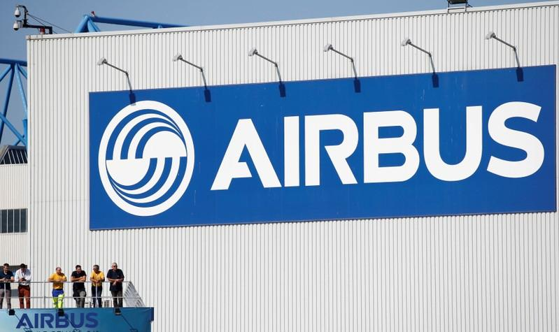 Logo of Airbus is seen as an Airbus Beluga XL transport plane prepares to take off during its first flight event in Colomiers near Toulouse, France, July 19, 2018. Regis Duvignau