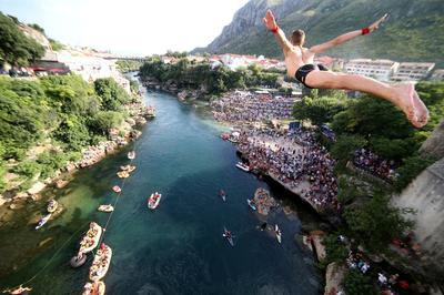 Leap of courage off Bosnian bridge