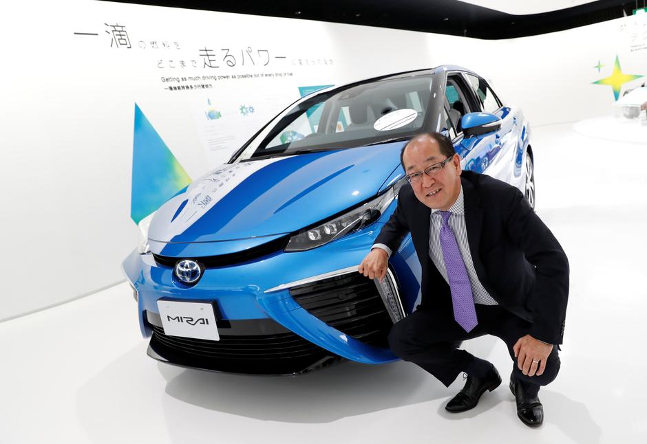 Yoshikazu Tanaka Toyota Motor Corp Chief Engineer Of Mirai Fuel Cell Vehicle Fcv Poses Next To The At Company Headquarters In