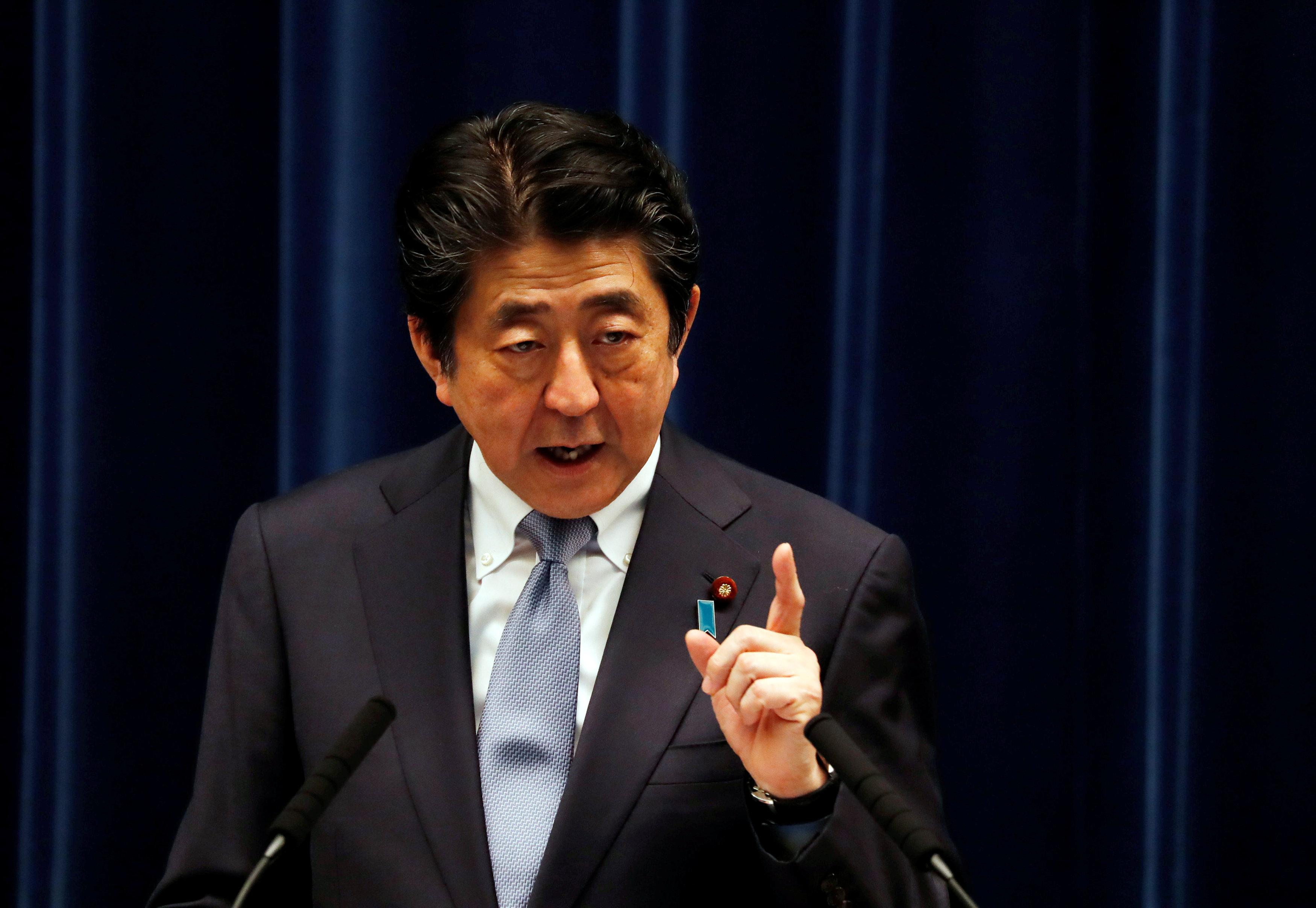 Japan's Prime Minister Shinzo Abe speaks at a news conference in Tokyo, Japan, July 20, 2018.  Kim Kyung-Hoon