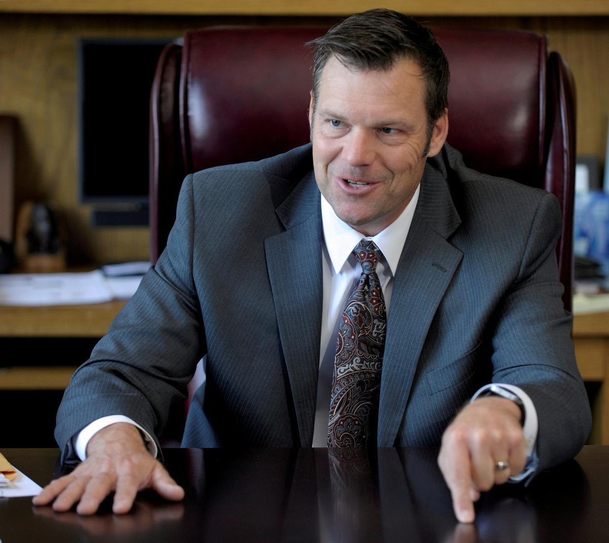 photo image Kobach to recuse himself from Kansas governor's race recount