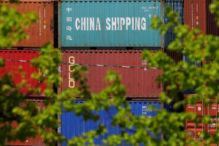 FILE PHOTO: Shipping containers are stacked at the Paul W. Conley Container...