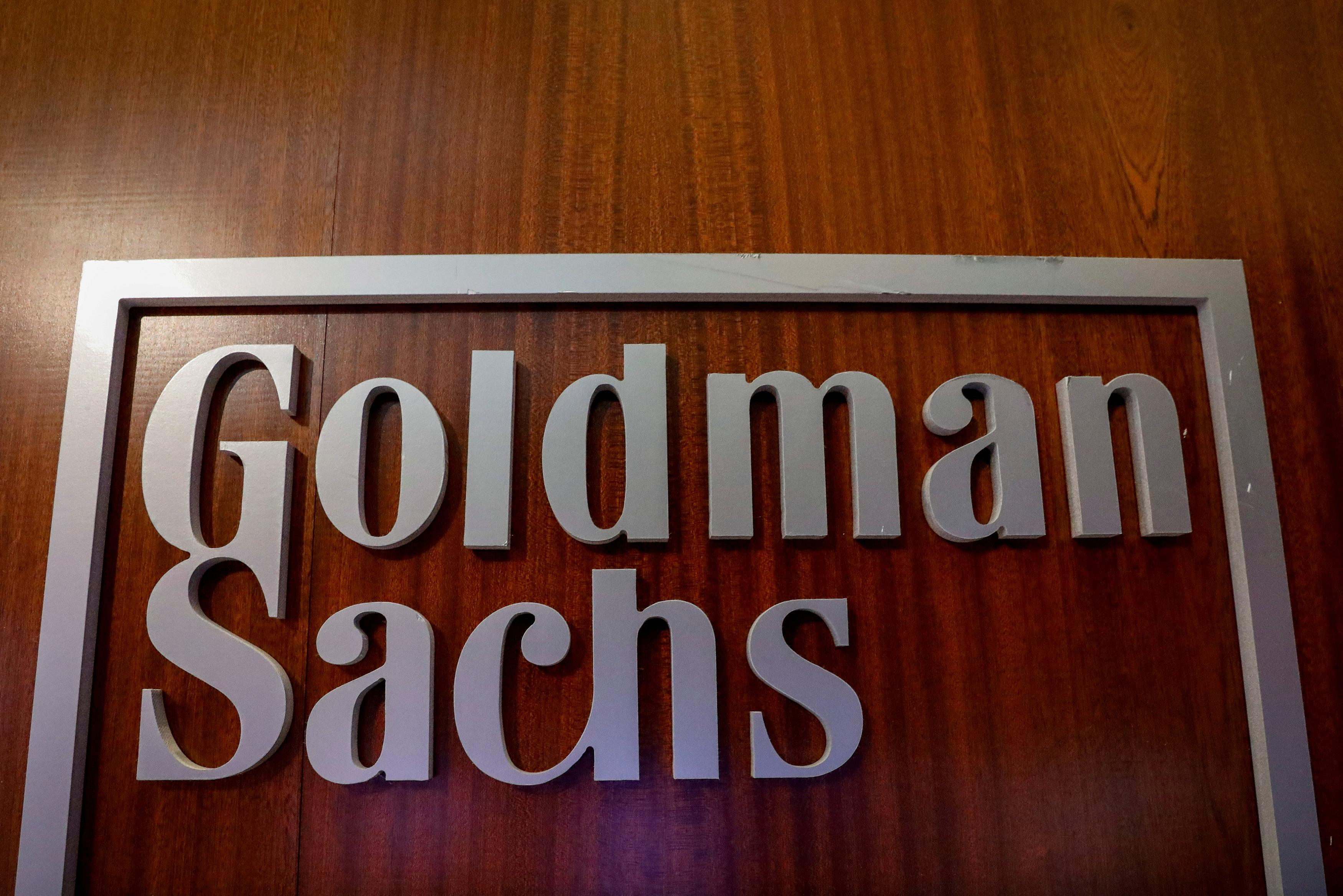 The Goldman Sachs company logo is seen in the company's space on the floor of the New York Stock Exchange, (NYSE) in New York, U.S., April 17, 2018. Brendan McDermid