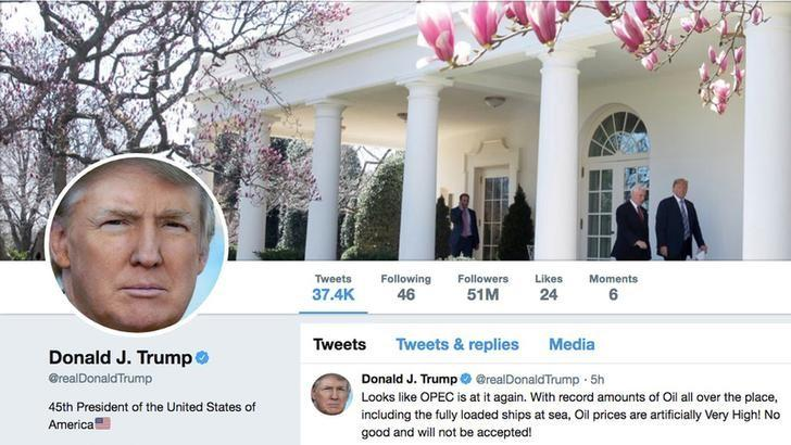 The masthead of U.S. President Donald Trump's @realDonaldTrump Twitter account with a message about OPEC policy is seen on April 20, 2018.  @realDonaldTrump/Handout via