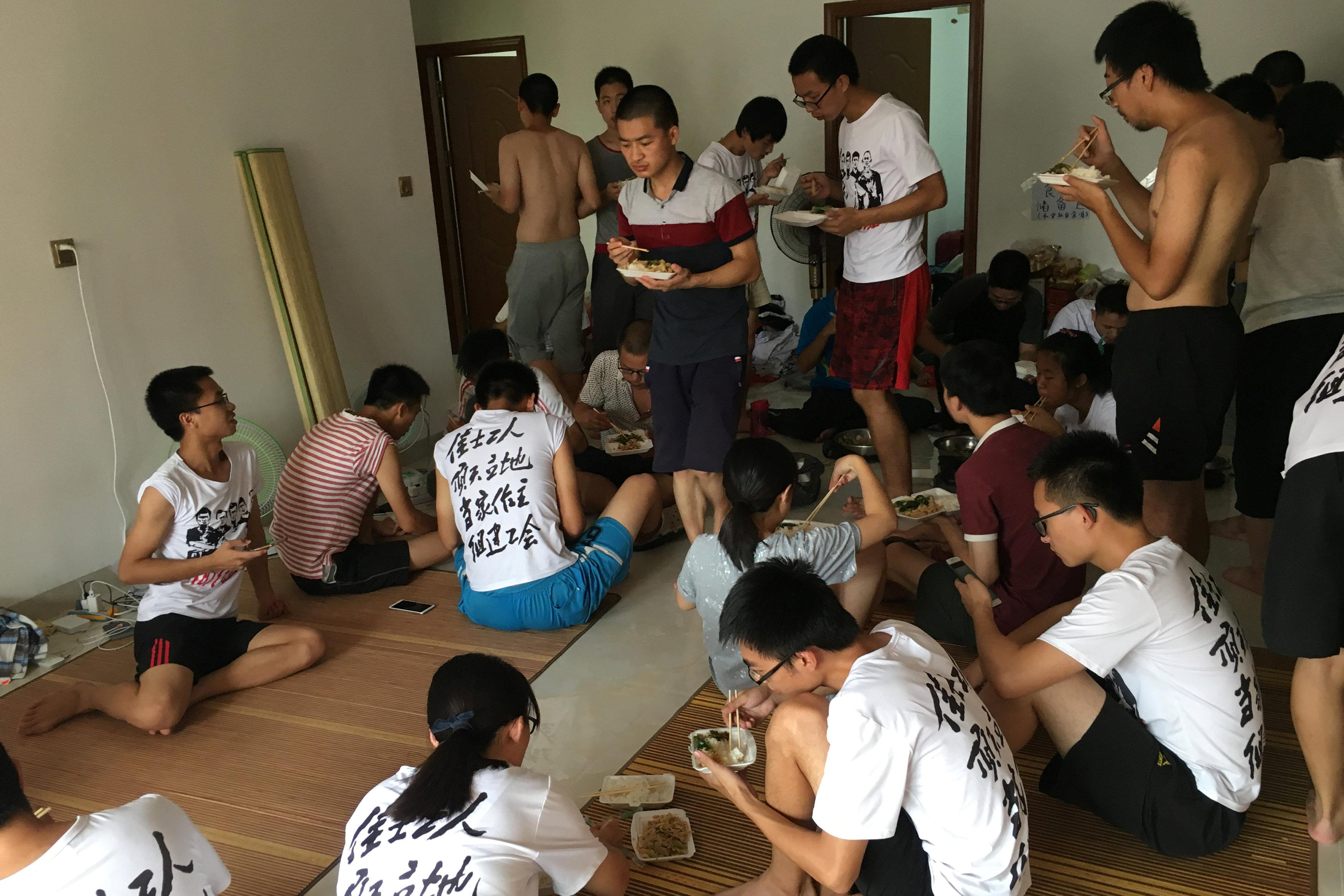 Student activists and others supporting factory workers seeking to form a labor union are seen inside an apartment in Huizhou, near Shenzhen, Guangdong province, China August 23, 2018.  Sue-Lin Wong