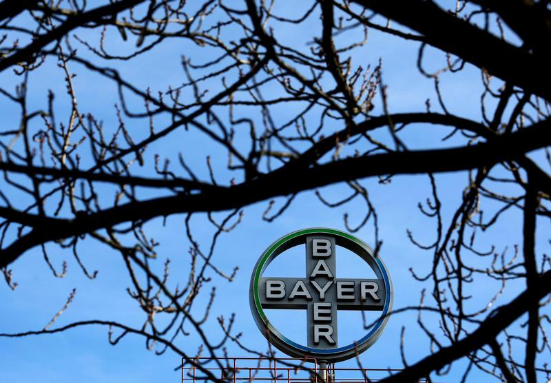 The logo of Bayer AG is pictured at the Bayer Healthcare subgroup production plant in Wuppertal, Germany February 24, 2014. Ina Fassbender