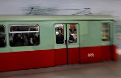 Riding the subway in Pyongyang
