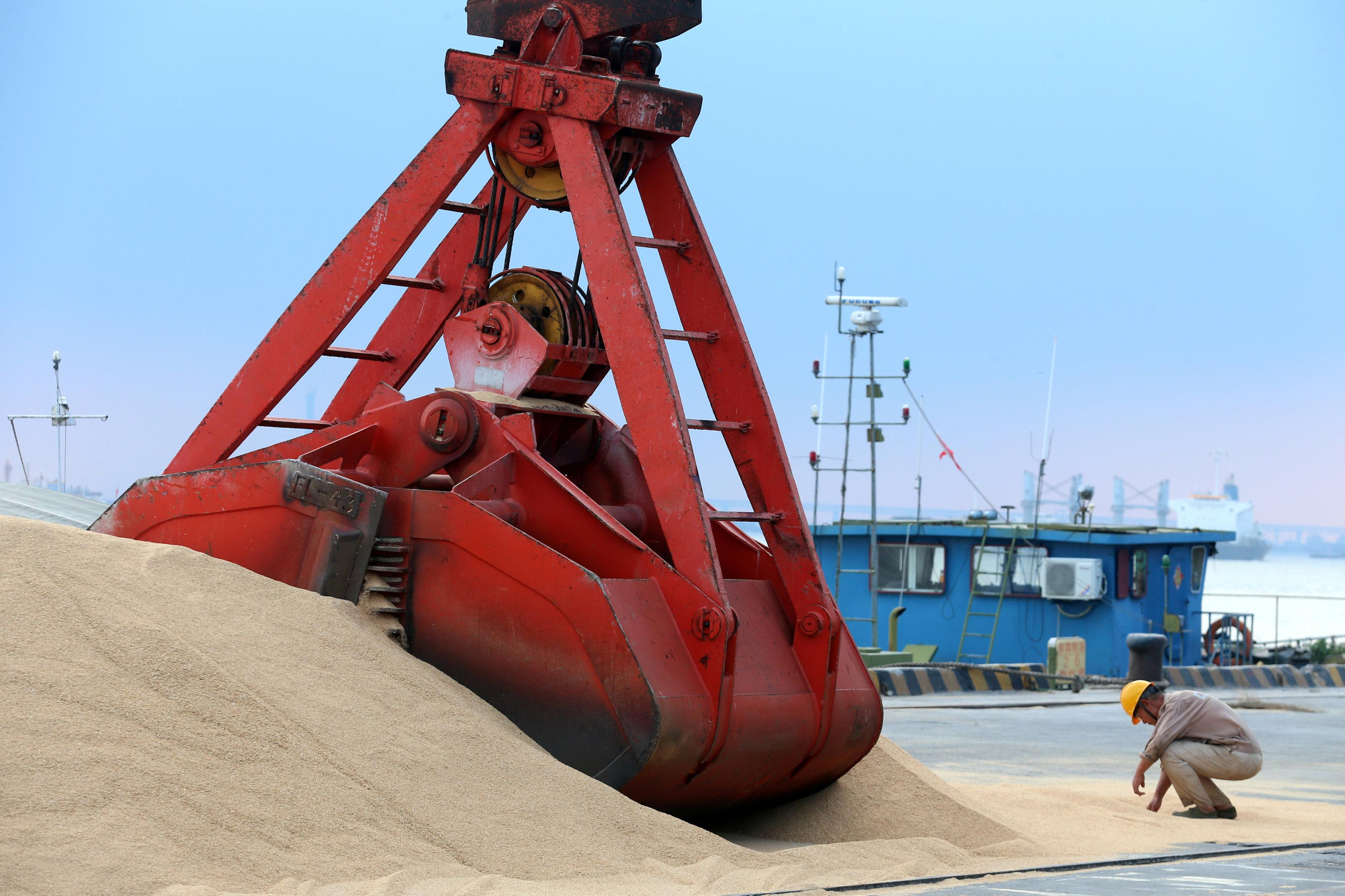 Imported soybeans are transported at a port in Nantong, Jiangsu province, China August 6, 2018. Stringer