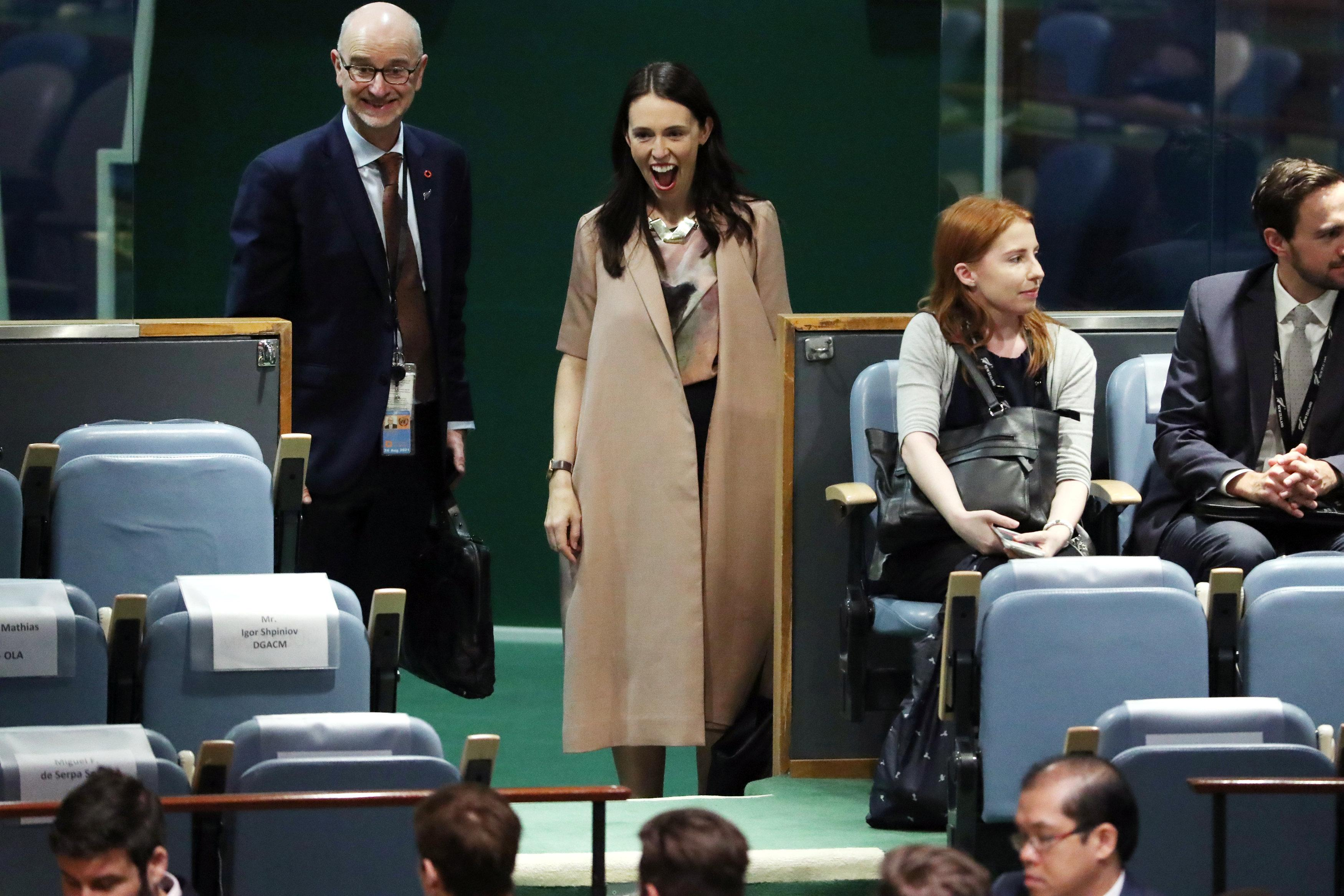 New Zealand Prime Minister Jacinda Ardern reacts as she sees her baby Neve at the Nelson Mandela Peace Summit during the 73rd United Nations General Assembly in New York, U.S., September 24, 2018. Carlo Allegri