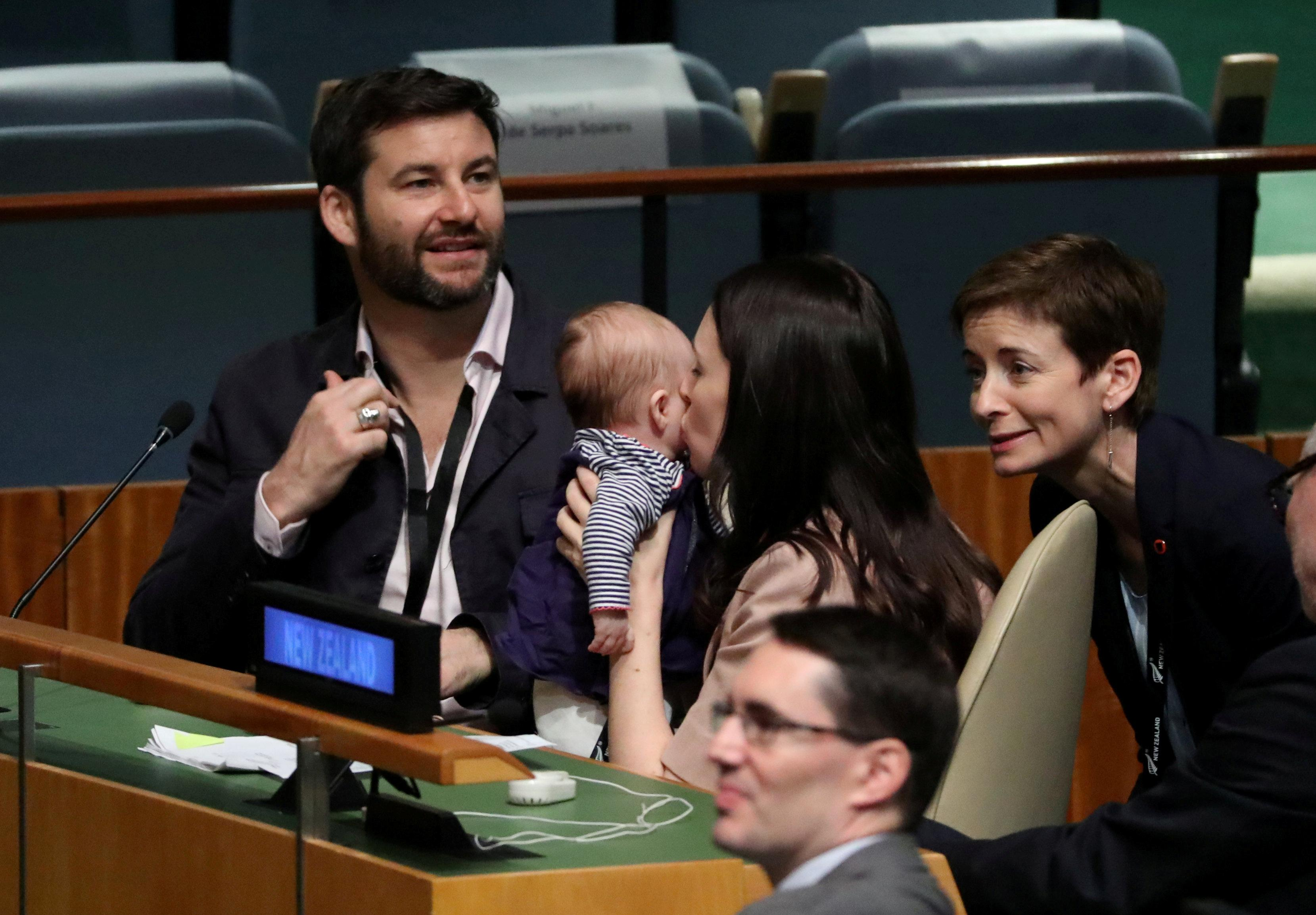 New Zealand Prime Minister Jacinda Ardern kisses her baby Neve after speaking at the Nelson Mandela Peace Summit during the 73rd United Nations General Assembly in New York, U.S., September 24, 2018. Carlo Allegri