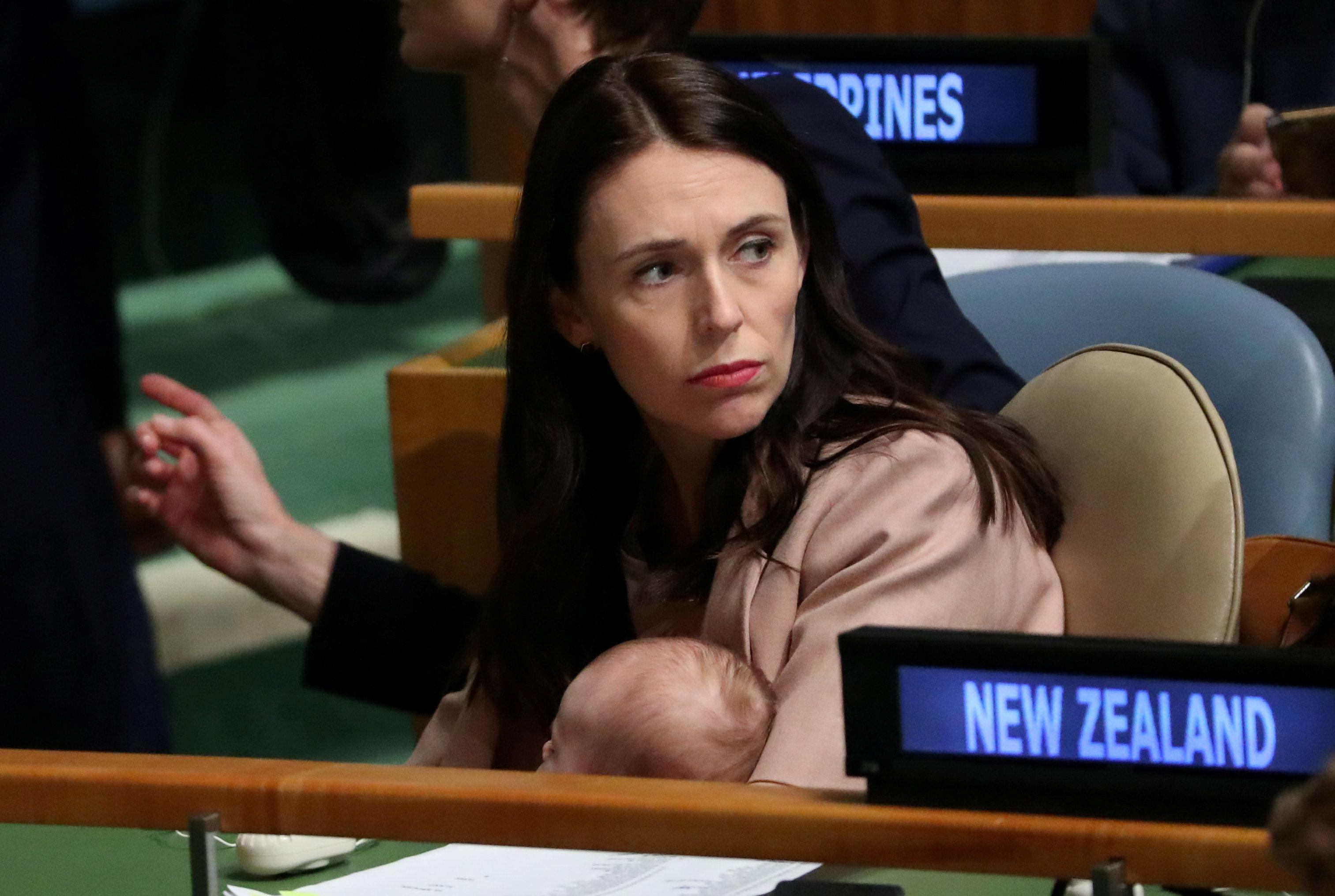 New Zealand Prime Minister Jacinda Ardern holds her baby Neve in the General Assembly Hall at the Nelson Mandela Peace Summit during the 73rd United Nations General Assembly in New York, U.S., September 24, 2018. Carlo Allegri
