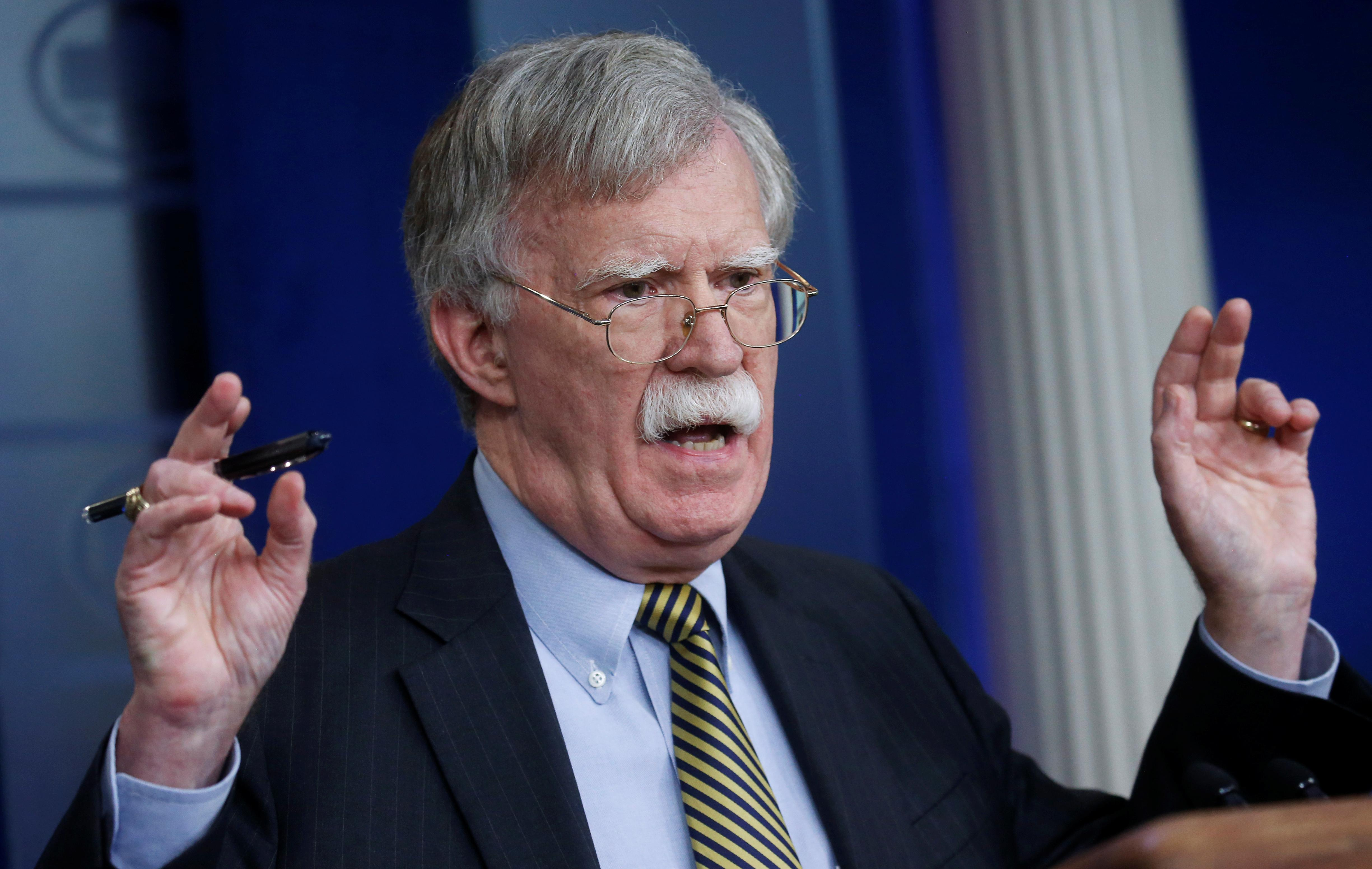 U.S. National Security Advisor John Bolton answers a question from a reporter about how he refers to Palestine during a news conference in the White House briefing room in Washington, U.S., October 3, 2018.    Leah Millis