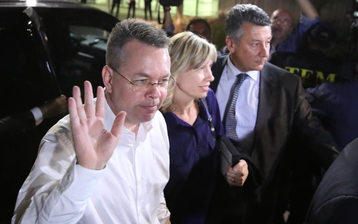 U.S. pastor Brunson arrives at airport in Turkey's Izmir after release