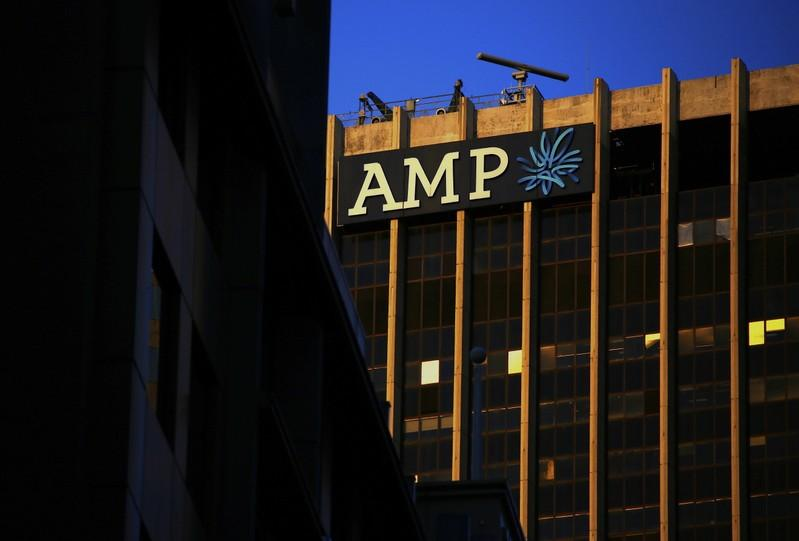 The logo of AMP Ltd, Australia's biggest retail wealth manager, adorns their head office located in central Sydney, Australia, May 5, 2017. David Gray