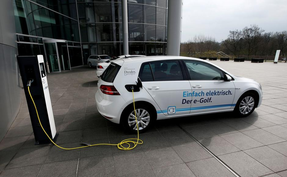 File Photo An E Golf Electric Car Is Pictured Charging Outside The New Production Line Of Transpa Factory German Carmaker Volkswagen In Dresden