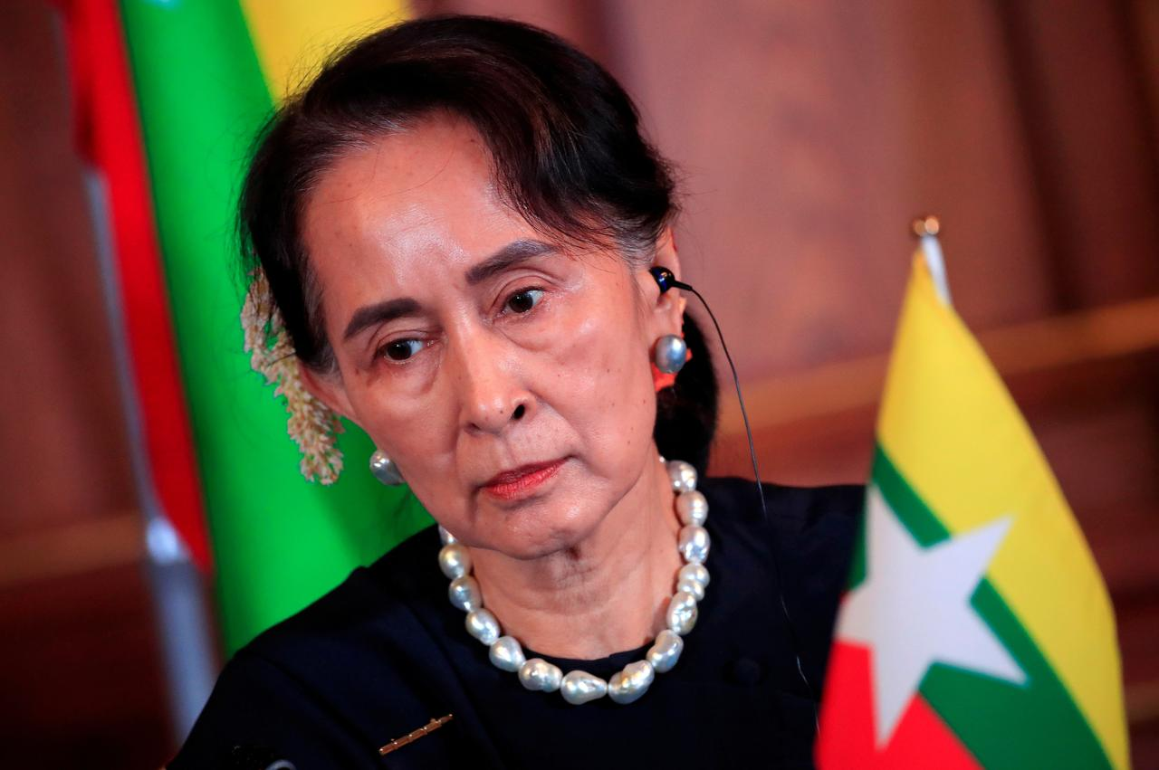Special Report Fading Icon  What Happened To Aung San Suu Kyi  File Photo Myanmars State Counsellor Aung San Suu Kyi Attends The Joint  News Conference Of The Japanmekong Summit Meeting At The Akasaka Palace  State  Persuasive Essays For High School also Business Ethics Essay Topics High School Entrance Essay