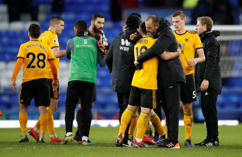 Soccer: Wolves match club record with 3-1 win at Everton ...