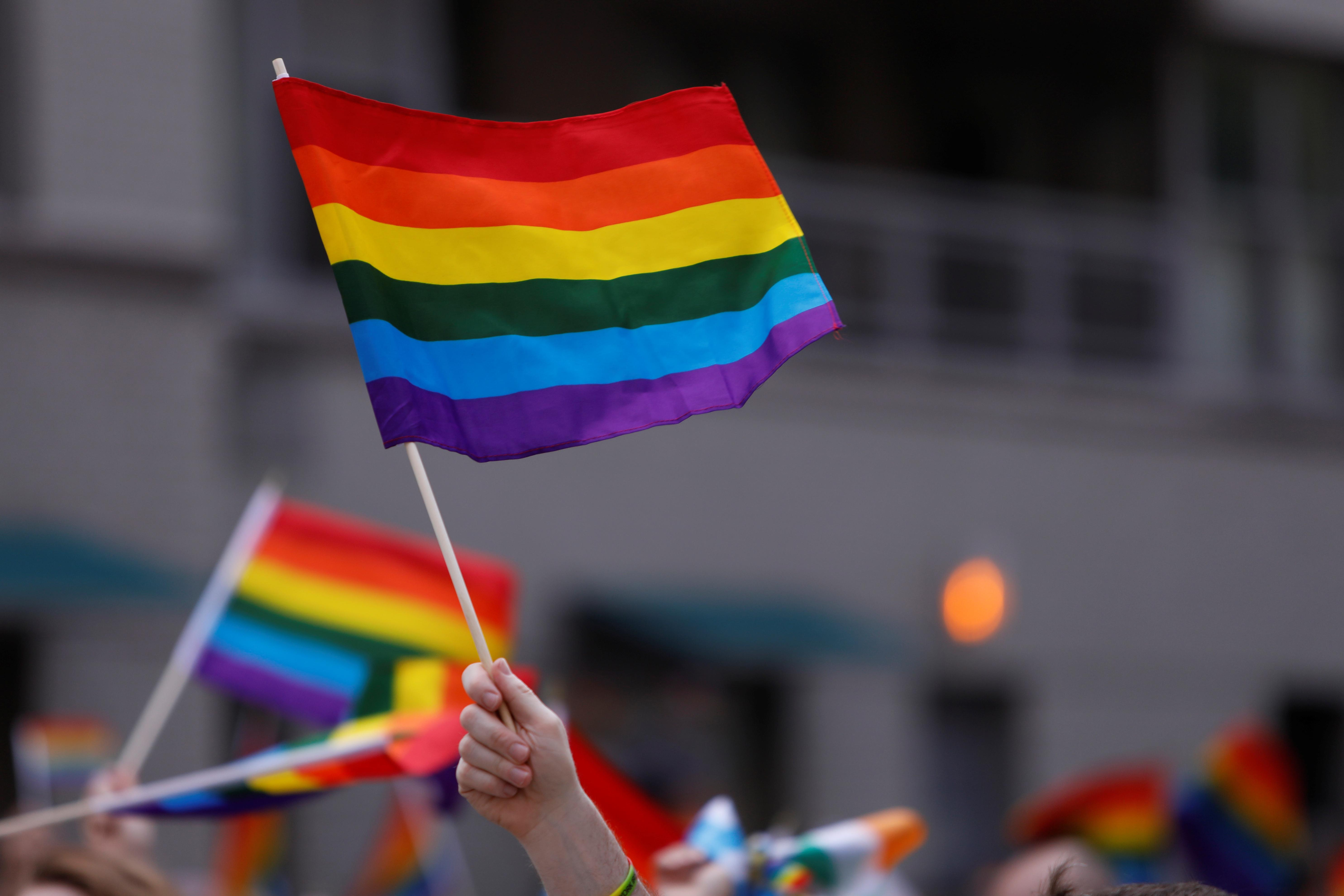 People wave rainbow flags during the 2018 New York City Pride Parade in  Manhattan, New York, U.S., June 24, 2018. REUTERS/Andrew Kelly