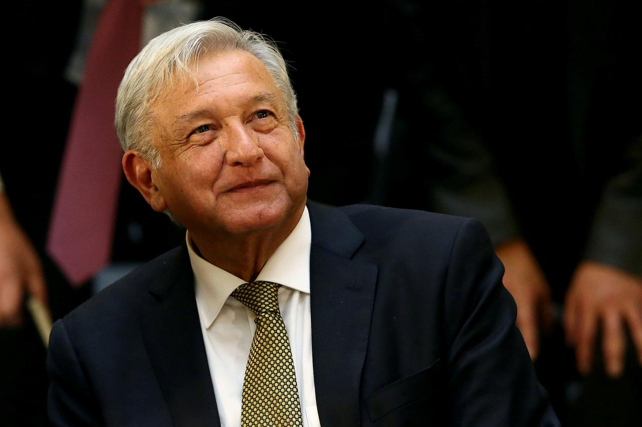 08731a3c467 FILE PHOTO  Mexico s President Andres Manuel Lopez Obrador looks on during  a meeting with industry bosses and members of his cabinet to discuss the  new ...