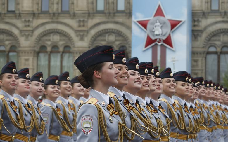 Russian servicewomen march during the Victory Day parade, which marks the anniversary of the victory over Nazi Germany in World War Two, in Red Square in central Moscow, Russia May 9, 2019. REUTERS/Maxim Shemetov