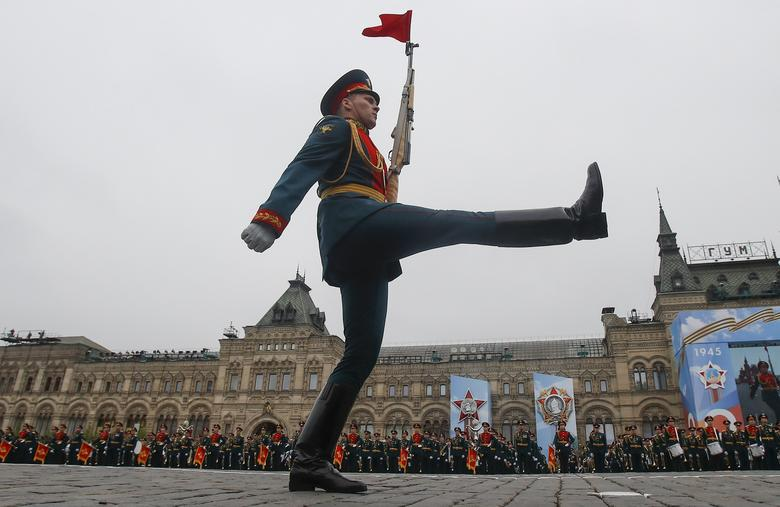 A Russian serviceman marches during the Victory Day parade in Red Square in central Moscow, Russia. REUTERS/Maxim Shemetov