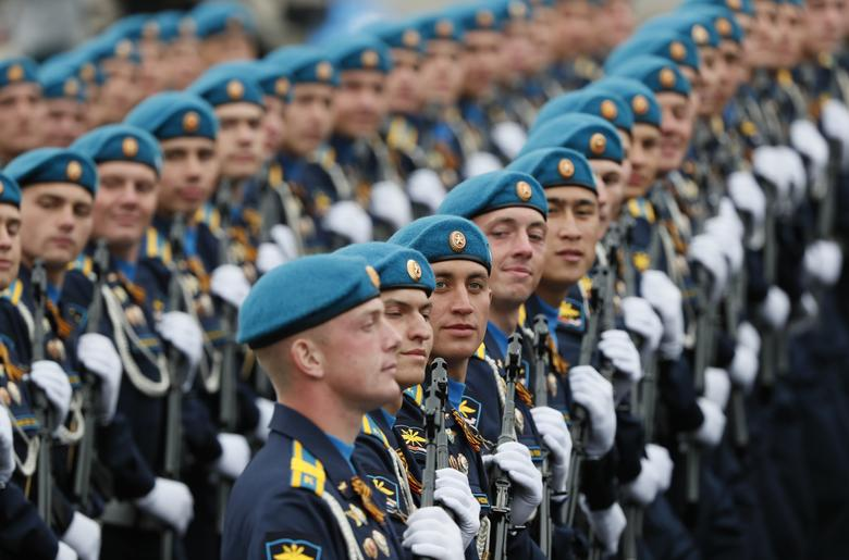 Russian servicemen stand before the Victory Day parade in Red Square in central Moscow, Russia. REUTERS/Shamil Zhumatov