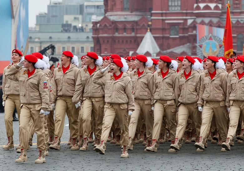 Members of Youth Army movement march during the Victory Day parade in Red Square in central Moscow, Russia. REUTERS/Shamil Zhumatov