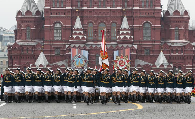 Russian servicewomen march during the Victory Day parade in Red Square in central Moscow, Russia. REUTERS/Shamil Zhumatov