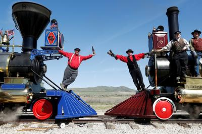 Bells, whistles and steam herald U.S. Transcontinental Railroad's 150th birthday