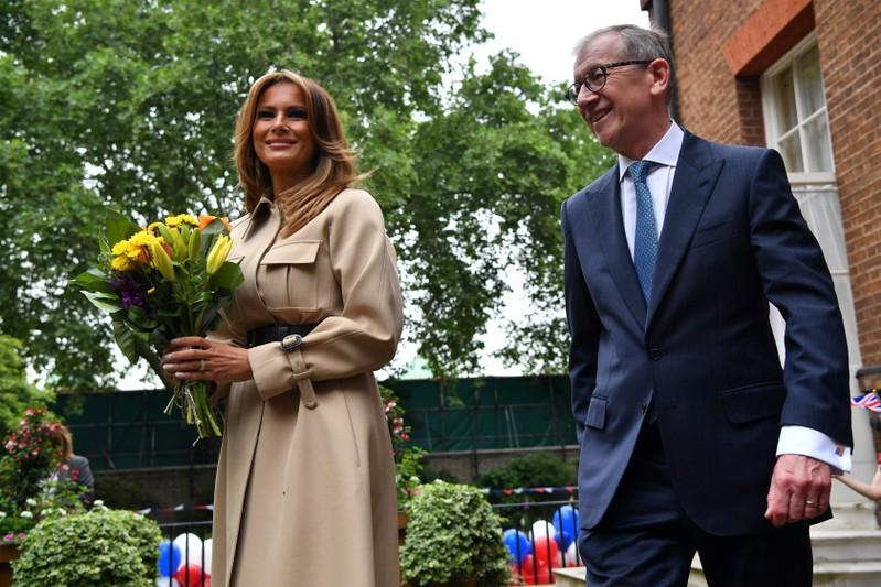 Melania and May's husband Philip attend English garden party