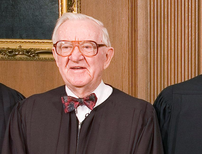 Justice John Paul Stevens (L) in the Chief Justice's Conference Room at the Supreme Court in Washington, D.C. October 3, 2005. Ken Heinen/Pool