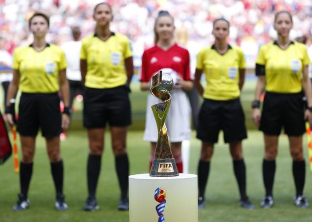 FILE PHOTO: Jul 7, 2019; Lyon, FRANCE; General view of the World Cup trophy before the championship match of the FIFA Women's World Cup France 2019 between the United States and the Netherlands at Stade de Lyon. Mandatory Credit: Michael Chow-USA TODAY Sports