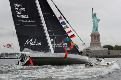 Climate activist Greta Thunberg sails across Atlantic