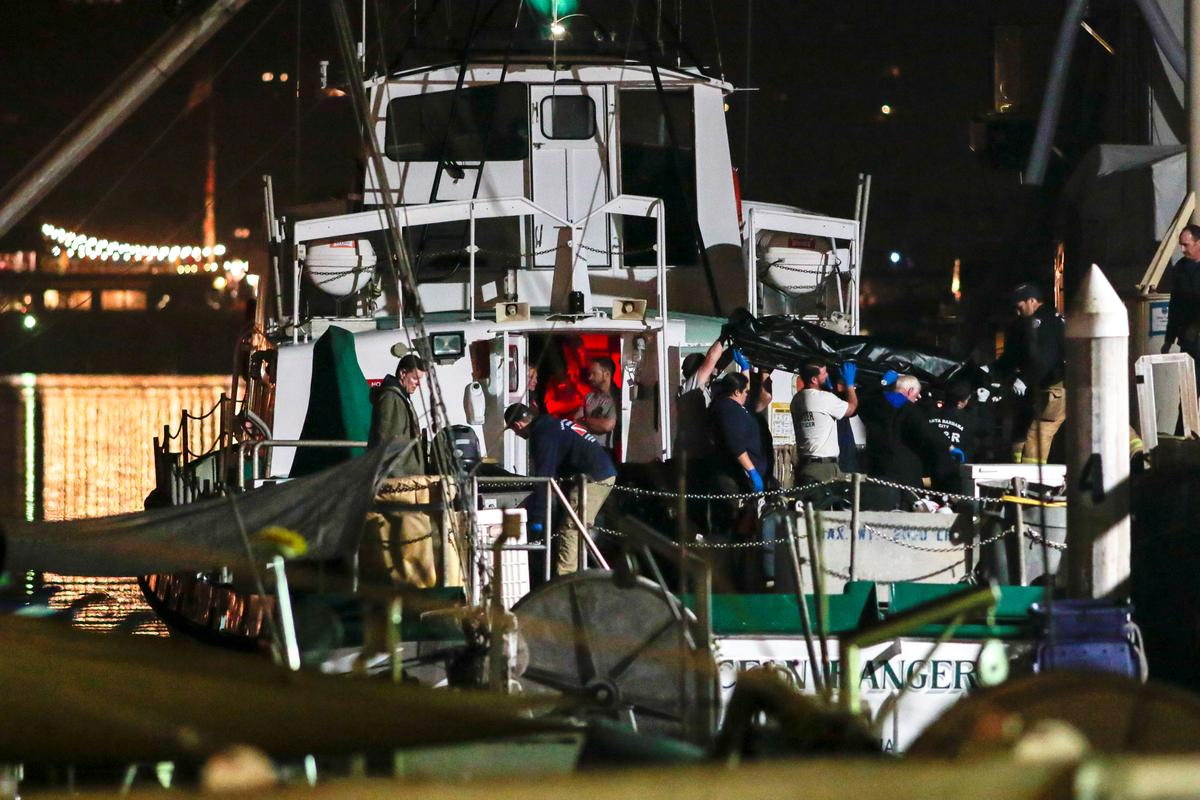 Divers search for last bodies in California boat fire, investigations begin